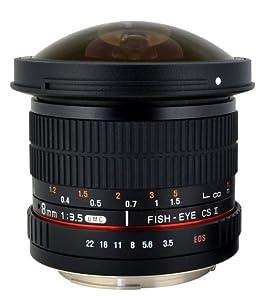 Rokinon - Oeil-de-poisson - 8 mm - F/3.5 Aspherical UMC CS II - Canon EF - EOS 7D, 10D, 20D, 30D, 40D, 50D, 60D, 70D, 100D, 300D, 350D, 400D, 450D, 500D, 550D, 600D, 700D, 1000D, 1100D & 1200D Digital SLR Cameras + AAdigital Bonus