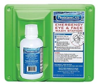 "PhysiciansCare 24-000 Wall Mountable Eye Flush Station with Single 16 oz Bottle, 11-3/4"" L x 4"" W x 13-3/4"" H"