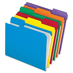 "Pendaflex Top-tab file folders 8.50"" x 11"" Sheet Size - 1/3 Tab Cut - Assorted Position Tab Location - 11 pt. - Assorted - 100 / Box"