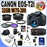 510gz3 EoaL. SL160  Top 10 Digital SLR Camera Bundles for February 12th 2012   Featuring : #4: Canon EOS Rebel T3i 18 MP CMOS Digital SLR Camera and DIGIC 4 Imaging with EF S 18 55mm f/3.5 5.6 IS Lens &amp; Canon 55 250IS Lens + 58mm 2x Telephoto lens + 58mm Wide Angle Lens (4 Lens Kit!!!!!!) W/32GB SDHC Memory+ Battery Grip + 2 Extra Batteries + Charger + 3 Piece Filter Kit + UV Filter + Full Size Tripod + Case +Accessory Kit