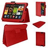 Stuff4 MR-KFHDX7-LMAG-R-STY-SP PU Leather Professional Portfolio Magnetic Case/Stand Cover for 7 inch Kindle Fire HDX 7 - Red