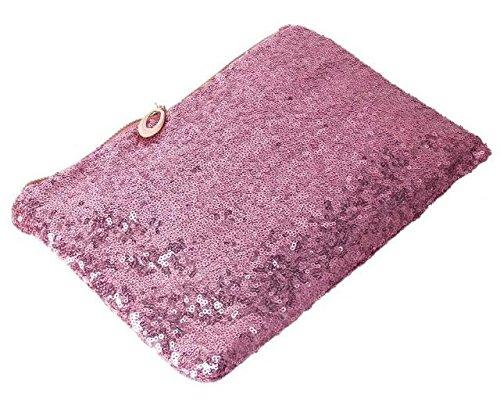 Maison De Decoration©Sac à main Glitter Paillettes embrayage Parti Soirée Sparkling des femmes sac sac (Rose)