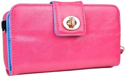 Kroo Magnetic Clutch Wallet For Samsung Galaxy Mega 5.8 - Frustration-Free Packaging - Baby Pink front-1067079