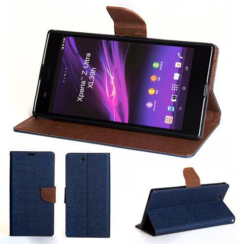 GMYLE(R) 財布ケースクラシックSony Xperia Z Ultra XL39h C6802 C6806 C6833 SOL24 SGP412専用 - 紺色  ブラウンクロスパターンPUレザースタンド手帳型ケースカバー