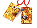 Murano Glass Pendant - Red & Amber on Gold Leaf with Millefiori - 3cm x 2cm with Complimentary Coloured Necklace - Includes Gift Box & Certificate of Authenticity - ONE PENDANT SUPPLIED