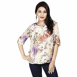 LALANA Multicolor Floral Print Silk Top