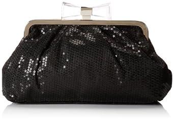 Jessica McClintock Sequin Clutch Evening Bag,Black,One Size
