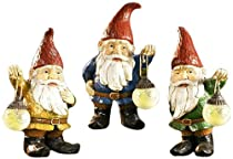 Big Sale Gift Craft 14.8-Inch Poly Resin Gnome Statues with Glow in The Dark Glass Lanterns, Medium