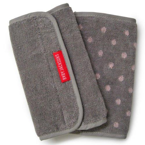 ベビージャクソンズ hug laces for drooling pads Imabari towel grey x pink dot