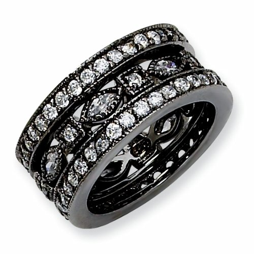 Black-plated Sterling Silver Cubic Zirconia Eternity Three Ring Set (Size 6)