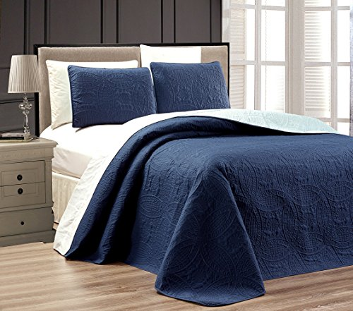 "3-Piece NAVY BLUE / LIGHT BLUE Oversize ""ORNATO"" Reversible Bedspread KING / CAL KING Embossed Coverlet set 118 by 106-Inch"