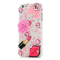 iPhone 6 Plus Case, STENES Luxurious Crystal 3D Handmade Sparkle Diamond Rhinestone Clear Cover with Retro Bowknot Anti Dust Plug - Sex Lips Lipstick Bowknot Rose Flowers / Pink