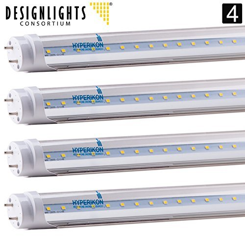 4-Pack of Hyperikon® T8 LED Light Tube, 4ft,