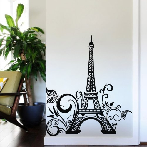 """Colorfulhall 23.6"""" X 42.5"""" Large Black Diy Paris Eiffel Tower Wall Decals Mural Removable Vinyl Wallpaper Decal Mural For Living Room Bed Room Stairs Study Decoration front-1081117"""