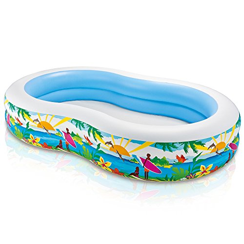 Intex Swim Center Paradise Inflatable Pool, 103″ X 63″ X 18″, for Ages 3+