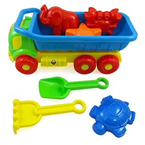 Beach Toys Deluxe Playset for Kids - 7 pieces Large Dump Truck Sand Shovel Set (Assorted Colors) from Sandbox Sand