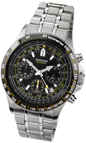 Sekonda Men's Quartz Watch with Black Dial Chronograph Display and Silver Stainless Steel Bracelet 3421.27