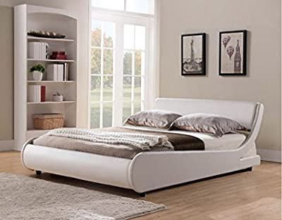 Griffin Italian Modern Designer Low Frame 5ft Kingsize White Faux Leather Bed