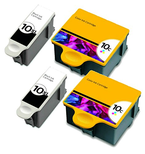 HouseOfToners Compatible Ink Cartridge Replacements for Kodak #10XL Black & #10 Color (2 Black, 2 Color, 4-Pack)