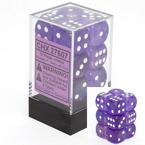 Chessex Dice d6 Sets: Borealis Purple with White - 16mm Six Sided Die (12) Block of Dice