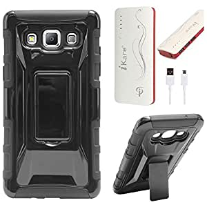 DMG Tough Polycarbonate Hard Back Defender Cover Case with Stand for Samsung Galaxy A5 (Black) + 10000 mAh Power Bank
