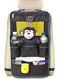 Backseat Organizer by Freddie and Sebbie - Luxury Car Storage Organizer - Perfect For Your Kids Accessories, Ipad, Tablets, Toys, Sippy Cups, Water Bottle, Etc - Designed To Fit Most Vehicles With The Aid Of Adjustable Straps Top And Bottom Which Keeps The Car Storage Backseat Organizer Securely In Position - Makes A Great Car Seat Protector, Back Seat Protector Or Kick Mat - Made in Black With Blue Piping - Protect Your Investment - Comes With A Lifetime Guarantee From A Company You Can Trust