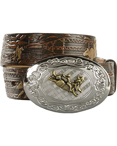 Nocona Boys' Bucking Bull Embossed Leather Belt Brown 24 (Western Belt Boys compare prices)