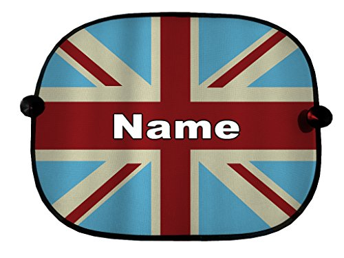 PERSONALISED PAIR OF CAR WINDOW SUN SHADES OLD SKOOL UNION JACK DESIGN GREAT FOR CAR BUS CHILDREN