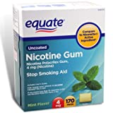 Equate - Nicotine Gum Polacrilex 4 mg, Stop Smoking Aid, Mint Flavor, 170 Pieces