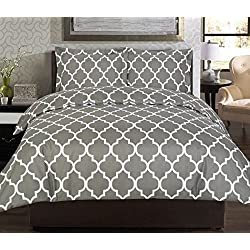 3 Piece Duvet Cover Set (Queen, Grey) - 1 Duvet Cover + 2 Pillow Shams - Hotel Quality Brushed Velvety Microfiber - Luxurious, Comfortable, Breathable, Soft & Extremely Durable - By Utopia Bedding