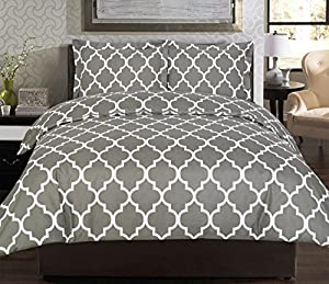 Utopia Bedding Printed Duvet Cover Set, Wrinkle, Fade & Stain Resistant, Queen, Grey