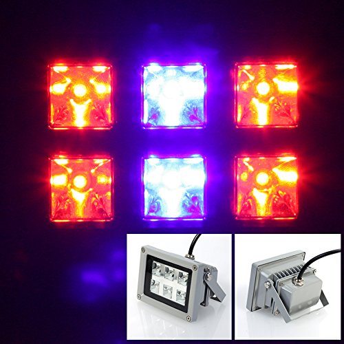 Lvjing High Power 12W Led Plant Grow Light Panel Flood Lamp Aluminum Shell 4Red + 2Blue Ac 85~265V For Hydroponic Plants Flowers Vegetables Greenhouse Hydro Lighting (12W)