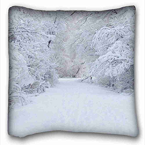 Custom Characteristic ( Nature Trees nature winter ) Custom Zippered Pillow Case 16x16 inches(one sides) from Surprise you suitable for Full-bed PC-Green-10766