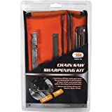 8 Piece Chainsaw Sharpener File Kit - Contains 5/32, 3/16, & 7/32 Inch Files, Wood Handle, Depth Gauge, Filing Guide, & Tool Pouch - For Sharpening & Filing Chainsaws & Other Blades - By Katzco