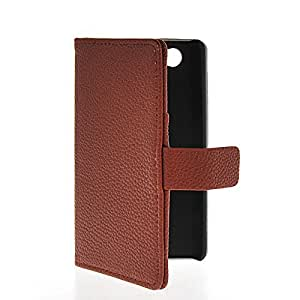 MOONCASE Litchi Skin Flip Leather Wallet Card Shell Pouch Stand Case Cover For Sony Xperia Z1 Compact (Mini) Brown