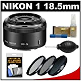 Nikon 1 18.5mm f/1.8 Nikkor Lens (Black) with 3 UV/CPL/ND8 Filters + Accessory Kit for J1, J2 & V1 Digital Camera