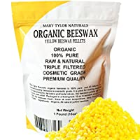 100% Organic Yellow Beeswax Pellets 1lb (16 oz) Premium Quality, Cosmetic Grade, Triple Filtered Bees Wax Pastilles Great for DIY Lip Balm Recipes Body Creams Lotions Deodorants By Mary Tylor Naturals by Mary Tylor Naturals