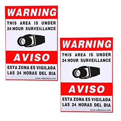 """VideoSecu 2 Pack of 11.5x8.3"""" Security Warning Decal Weatherproof Vinyl Window Alarm Sign Sticker for Home CCTV DVR CCD Video Surveillance Camera System WO9"""