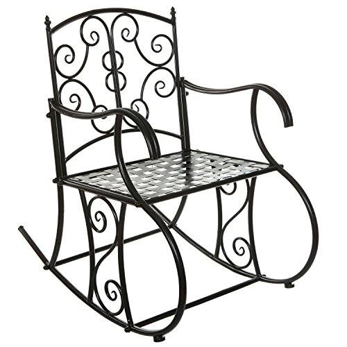 Black Metal Scrollwork Design Decorative Outdoor Patio / Garden / Deck Rocking Chair