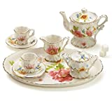 Miniature 10 Piece Porcelain Teaset with Rose Garden Pattern