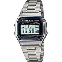 Casio A158WA - Reloj para hombres, correa de acero inoxidable color plateado por Casio