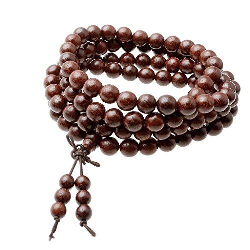 Top Plaza Unisex 108 Natural Wood 6mm 8mm Beads Bracelet Meditation Buddhist Rosary Mala Necklace (8mm Red Sandalwood)