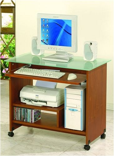 Contemporary Style Brown Wood & Glass Computer Desk w/ Casters