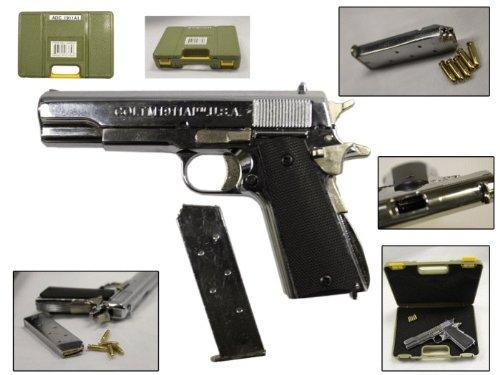 4″ overall length Decorative Coltm1911AI Gun minature w/ Green plastic case