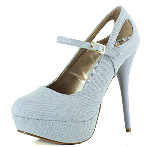 Women's Cut-Out High Heel Mary Jane Platform Stiletto Denim, 7