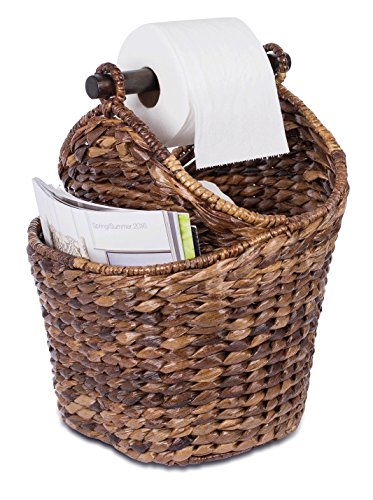 BirdRock Home Seagrass Magazine and Bathroom Basket | Hand Woven Toilet Paper Holder with Pocket | Espresso | Stylish Decorative Design | Wooden Basket Décor | Dispenser