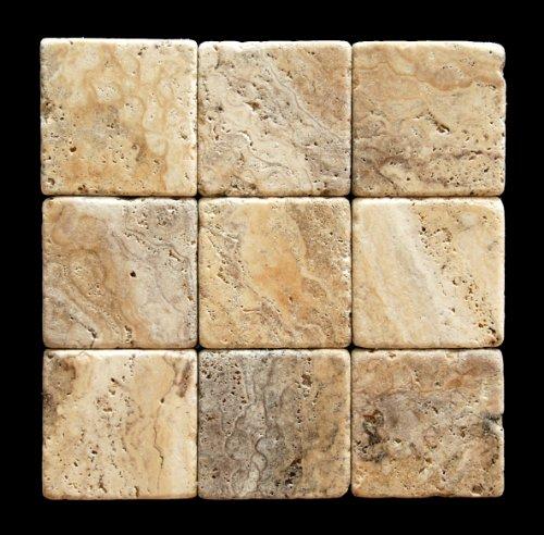Philadelphia 4 X 4 Travertine Tumbled Tile - 4 pcs. Sample Set