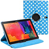 Stuff4 Polka Dot Designed Case with 360 Degree Rotating Swivel Action and Screen Protector/Stylus Touch Pen for 10.1 inch Samsung Galaxy Tab Pro T520/T525 - Blue/White