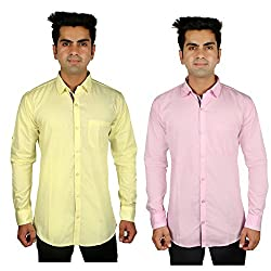 Nimegh Pink, Yellow Color Cotton Casual Slim fit Shirt For men's (Pack of 2)