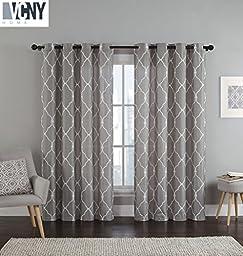 2 Pack: Devlin Quatrefoil Linen Weave Textured Quatrefoil Curtains by VCNY® - Assorted Colors (Stone Grey)